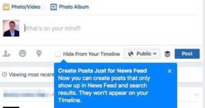 "Hinweis ""Create Posts Just for News Feed"" (Quelle: Kai Thrun)"