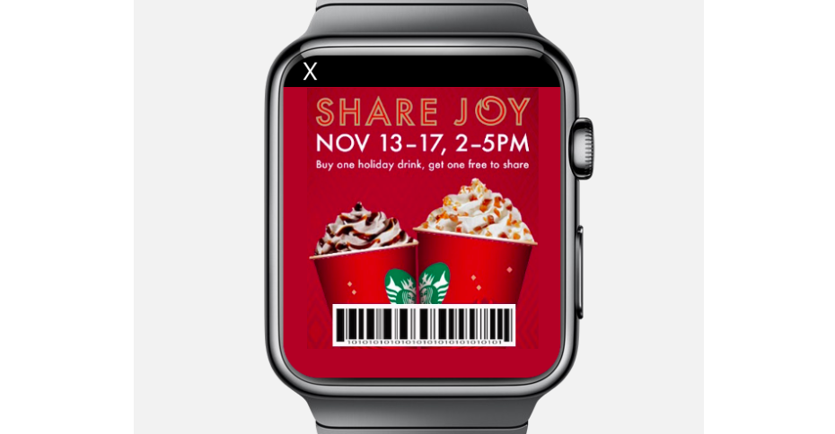 TapSense Ad for Apple Watch - showing a Starbucks Coupon
