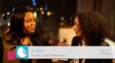 You see The Shade Room founder Angie Nwandu on the left and Elelta Tzegai, the moderator, on the right