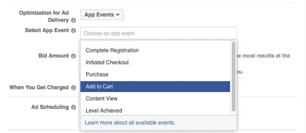 Facebook App Ereignisse