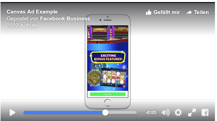 Facebook Canvas Ad Example