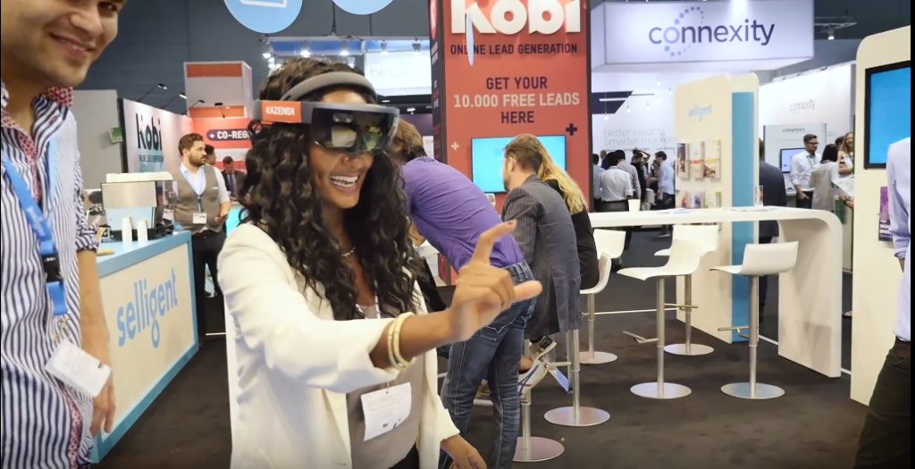 Woman wearing VR-glasses.